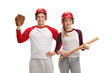 Male baseball player with glove and female player with bat
