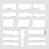 Set of blank Torn paper sheets. Vector note pieces collection with sticky tape. - 173009798