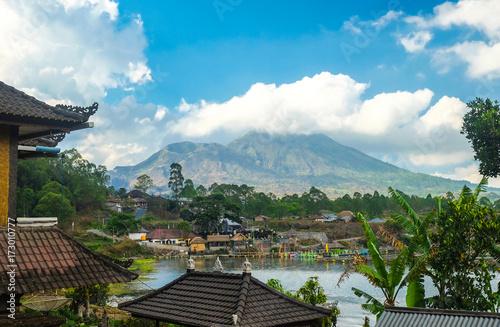 Papiers peints Bali Kintamani volcano and lake, view from Kabupaten Bangli Village
