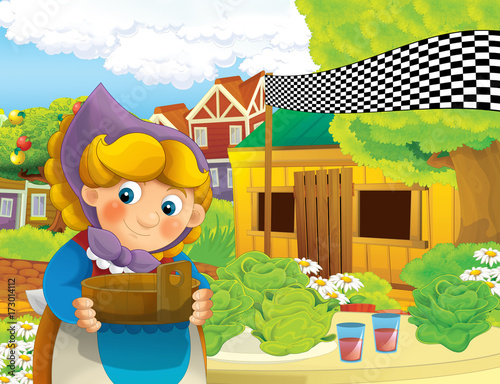 cartoon scene with happy woman working on the farm - standing and smiling / illustration for children - 173014112