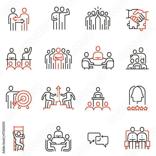Vector set of 16 linear quality icons related to team work, human resources, business interaction. Mono line pictograms and infographics design elements - part 2