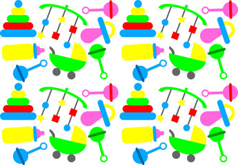 Baby pattern bold colours with toys & objects