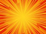 Pop art comic background lightning blast halftone dots. Cartoon Vector Illustration on red