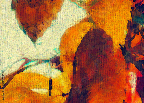 Yellow grape leaves. Painted on canvas watercolor and oil artwork. Good for printed picture, design postcard, posters and wallpapers. Can be use as colorful artistic texture. - 173039526