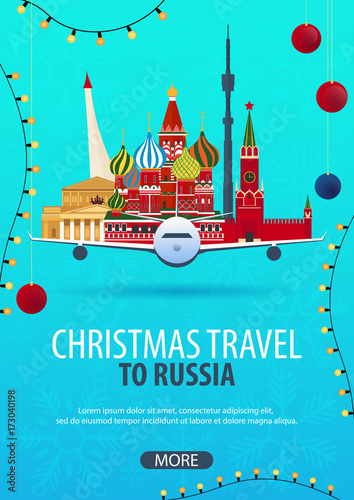 Fotobehang Groene koraal Christmas Travel to Russia, Moscow. Winter travel. Vector illustration.