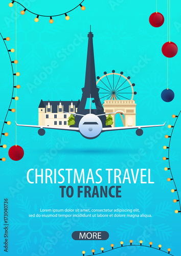 Poster Groene koraal Christmas Travel to France, Paris. Winter travel. Vector illustration.