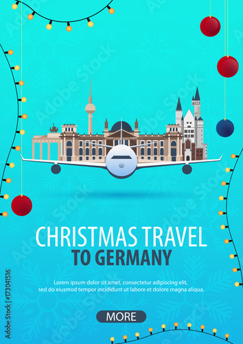 Foto op Canvas Groene koraal Christmas Travel to Germany. Winter travel. Vector illustration.