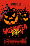 Halloween pumpkins on red - 173045970