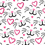 Cute cat face seamless pattern VECTOR