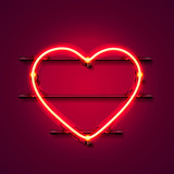 Neon heart signboard on the red background. Vector illustration - 173058308