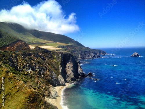 Plexiglas Donkerblauw seashore