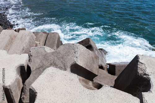 Plagát Massive concrete blocks as a part of breakwater