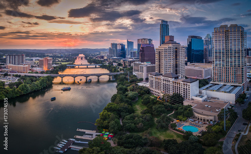 Downtown Austin, Texas during sunset - 173074535