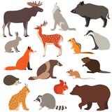 Cute Woodland Animals    Such As Fox Hare Wolf Moose Squirrel Wall Sticker