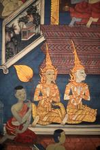 """Постер, картина, фотообои """"Life of Buddha. Mural detail on inner walls of the Vihara from the era of king Rama III depicting the Ramakian. Wat Pho - Wat Phra Chettuphon. 1788. Bangkok."""""""