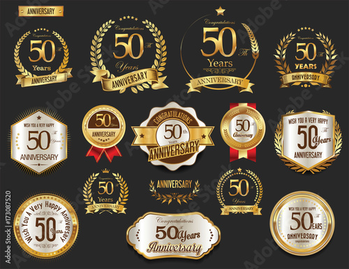 Anniversary golden laurel wreath and badges 50 years vector collection