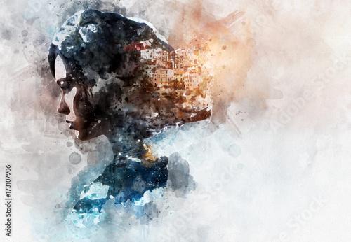 cyfrowe-malowanie-akwarela-podwojna-ekspozycja-kobieta