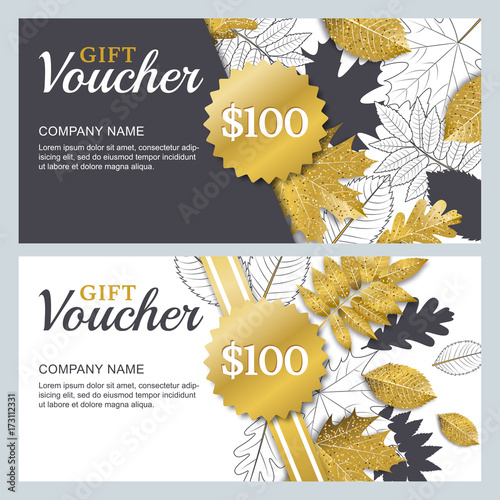 Vector Gift Or Discount Voucher Template With 3d Style Gold And