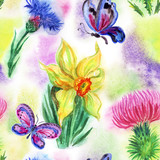 Seamless watercolor pattern from wildflowers on a background of abstract spots. - 173115162
