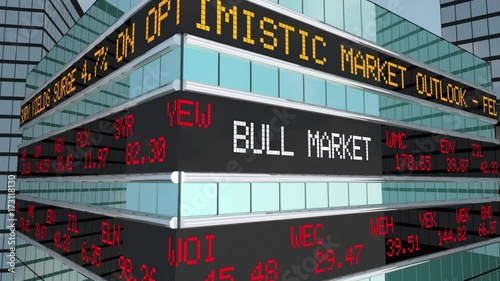 Bull Market Stock Ticker Building Wall Street 3d Animation