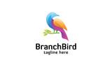 Branch Bird Logo - Colorful Bird and Tree Branch Logo Template