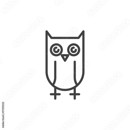 Owl line icon, outline vector sign, linear style pictogram isolated on white. Education symbol, logo illustration. Editable stroke