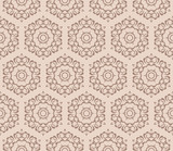 Geometric Seamless Pattern of with floral ornament. vector illustration. vector illustration. beige color. print for fabric, wallpaper - 173159964