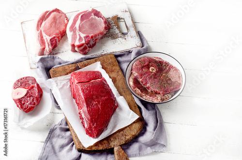 Papiers peints Steakhouse Different types of meat
