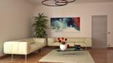 Soggiorno con fiori e marmo rosso - 173166983