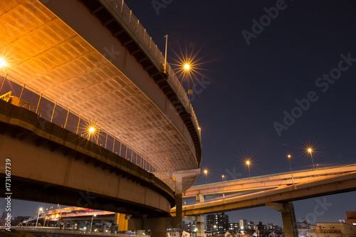Deurstickers Nacht snelweg junction