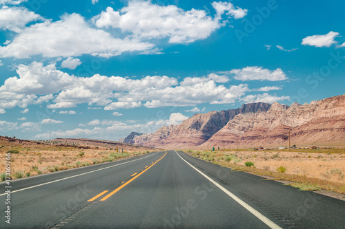 Papiers peints Route 66 Stone desert in the USA. Red rocks of Arizona and highway