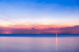 Colorful sunset in the Adriatic sea captured from Piran blue pink orange reflection sundown Europe tourism  - 173185798