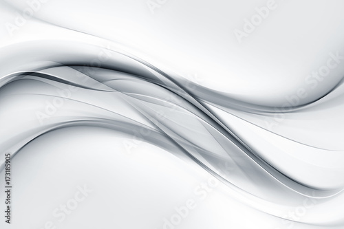 Tuinposter Abstract wave Bright gray and white waves background.