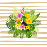 Tropical summer design. Postcard or poster with toucan, palm leaves, tropical plants, flowers. - 173186355