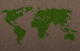 Planisfero erboso, pianeta verde, ecologia