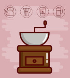 coffee grinder and coffee related icons over pink background colorful design vector illustration - 173210382