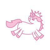 lovely unicorn crown animal horned fantasy vector illustration