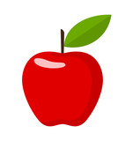 Red Apple. Flat Design Vector Illustration Of A Red Apple On White Background. - 173220347