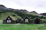 Traditional icelandic houses with grass - 173225131