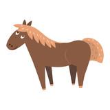 Cute Horse Cartoon Flat Vector Sticker or Icon - 173225562