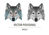 Vector polygonal wolf head. Low poly predator illustration. Triangle simple color image.