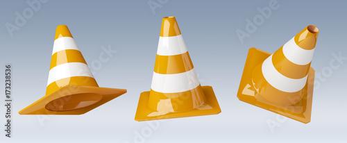 Digital 3D rendering under construction signs