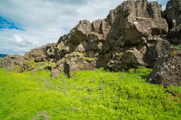 Thingvellir National Park rift valley, Waterfall into The Mid Atlantic Rift, Pingvellir, Iceland