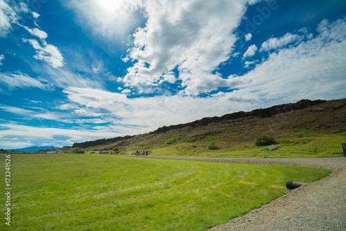 Keuken foto achterwand Donkergrijs Thingvellir National Park rift valley, Waterfall into The Mid Atlantic Rift, Pingvellir, Iceland