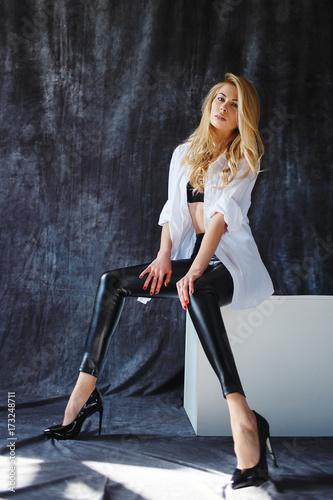 Plakát fashion luxury blonde girl in man's shirt