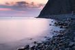Magenta sunset on tropical beach slowshutter speed milkwater surface - 173252728