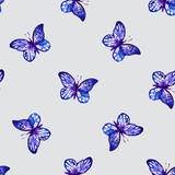Seamless butterflies pattern. Blue butteeflies. Vector stock.