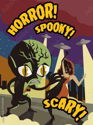 Aluminium Vintage Poster alien space invader horror film vintage poster