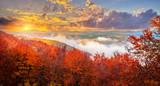 Autumn mountains at sunset