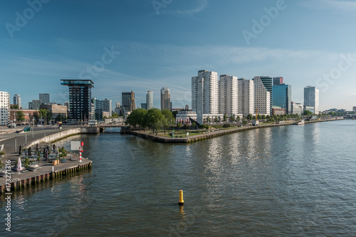 Fotobehang Rotterdam Rotterdam city cityscape skyline Nieuwe Maas (Rhine) river in front, South Holland, Netherlands.